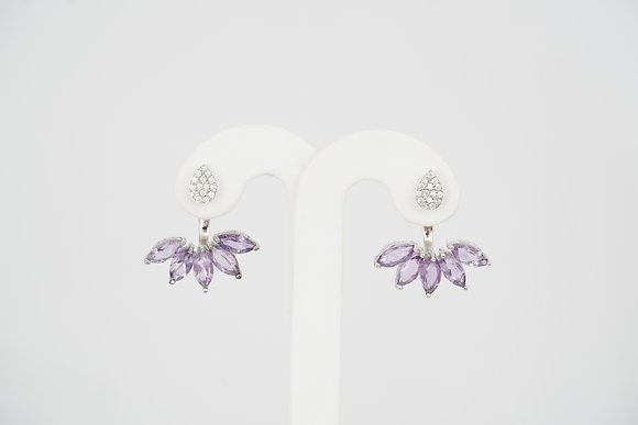 Sterling Silver Under-Lobe Amethyst/CZ Earrings