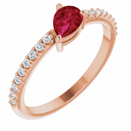 14k Diamond & Pear-Shape Ruby Ring