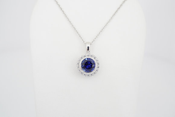 Sterling Silver Blue CZ Halo Necklace