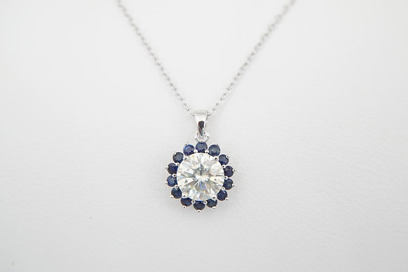 Sterling Silver 2ct Moissanite & Blue Sapphire Halo Pendant