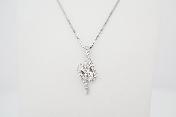 10k 1/2ctw Two-Stone Bypass Diamond Necklace
