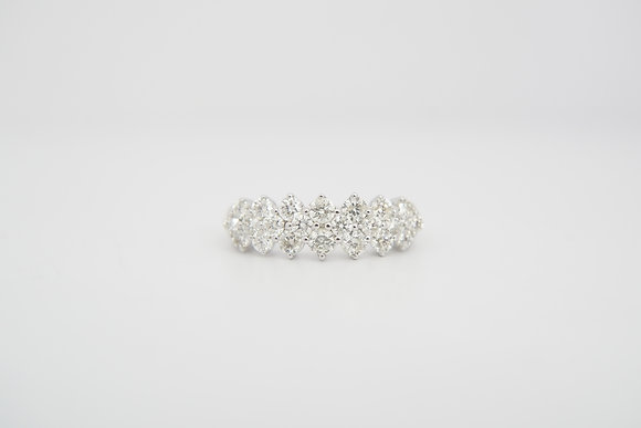 14k 1ctw Three-Row Diamond Band