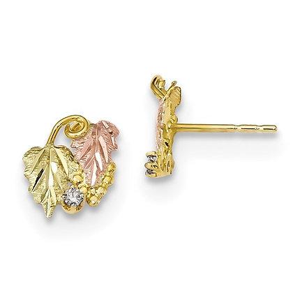 10k Black Hills Gold Diamond Stud Earrings