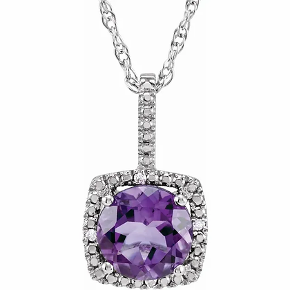 Sterling Silver Amethyst Halo-Style Necklace