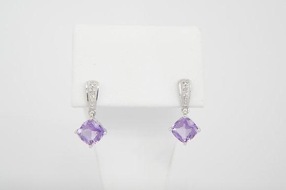 10k Amethyst & Diamond Drop Earrings