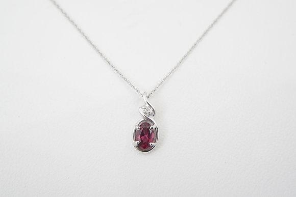10k Rhodolite Garnet & Diamond Necklace