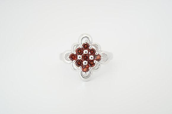 Sterling Silver Garnet Floral Cluster Ring