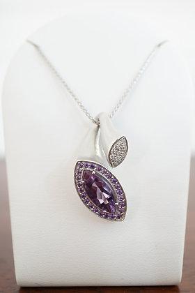 18k & 14k Amethyst & Diamond Freeform Necklace