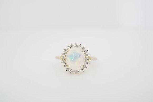 14k Opal & Diamond Oval Halo Ring
