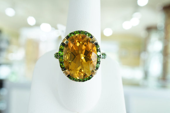 Citrine & Chrome Diopside Halo Ring