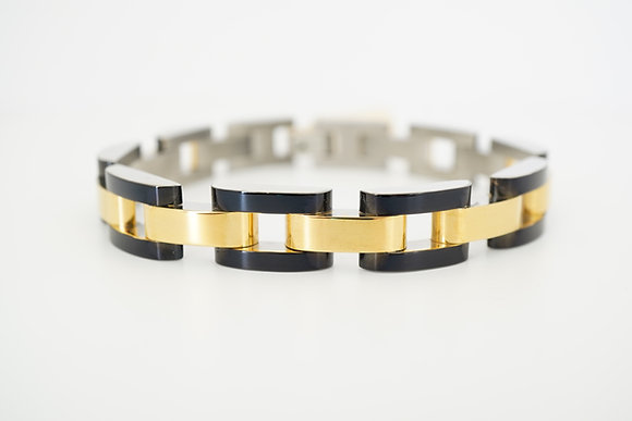 Stainless Steel Black & Gold Link Bracelet