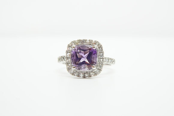 14k Amethyst Halo Ring