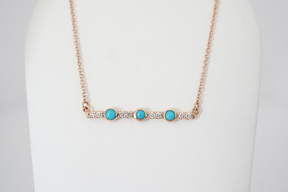 14k Turquoise & Diamond Bar Necklace