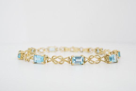 14k Blue Topaz Knot Bracelet