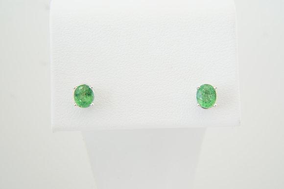 14k Oval Tsavorite Garnet Stud Earrings