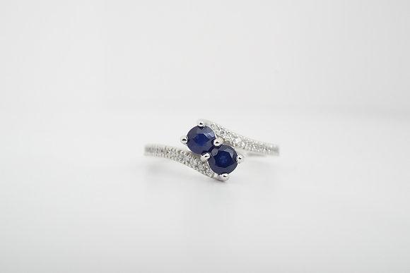 14k Blue Sapphire & Diamond Bypass Ring
