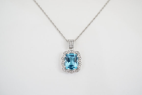 14k Cushion Blue Topaz & Diamond Necklace