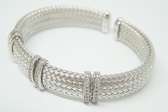 Sterling Silver & CZ Woven Cuff