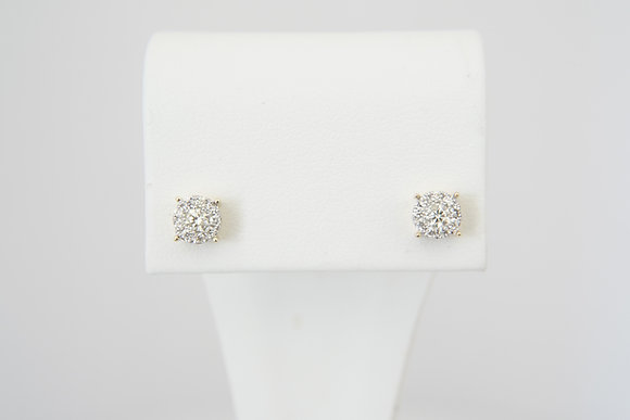 14k 1/3ctw Cluster Earrings