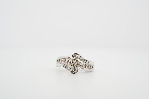 10k 1/3ctw Diamond Bypass Cross Ring