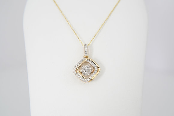 10k 1/4ctw Cushion Dancing Diamond Necklace