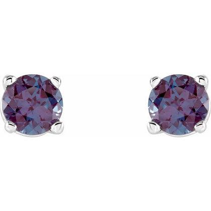14k 4mm Created Alexandrite Stud Earrings