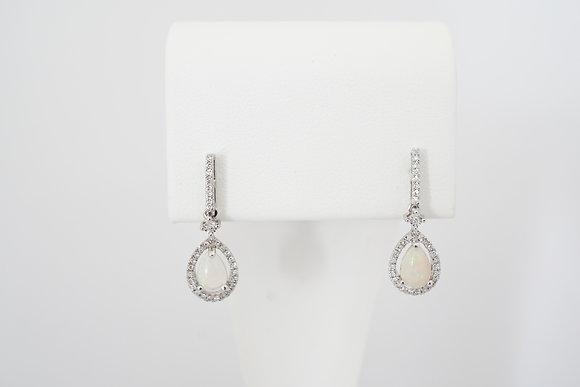 14k Pear-Shape Opal & Diamond Dangle Earrings