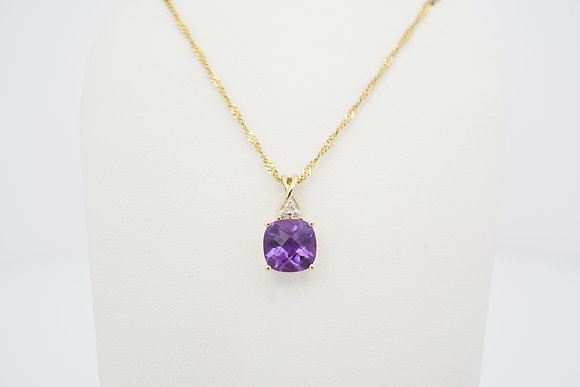 10k Cushion Amethyst & Diamond Necklace