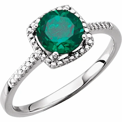 Sterling Silver Created Emerald Halo-Style Ring