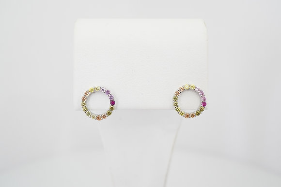 Sterling Silver Multicolor CZ Circle Earrings