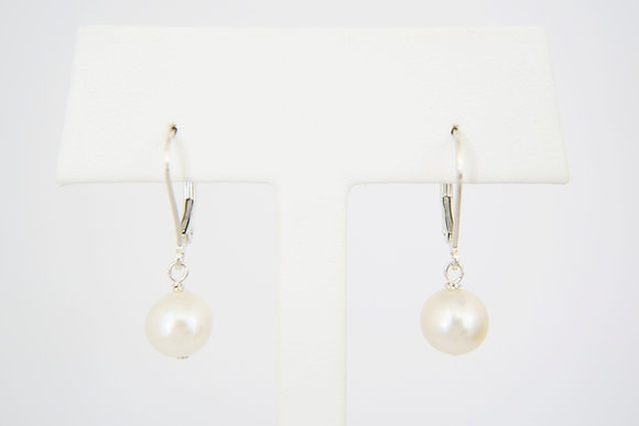 Sterling Silver Freshwater Pearl Leverback Earrings