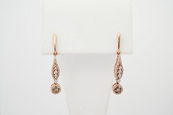 10k 1/4ctw Brown & White Diamond Dangle Earrings