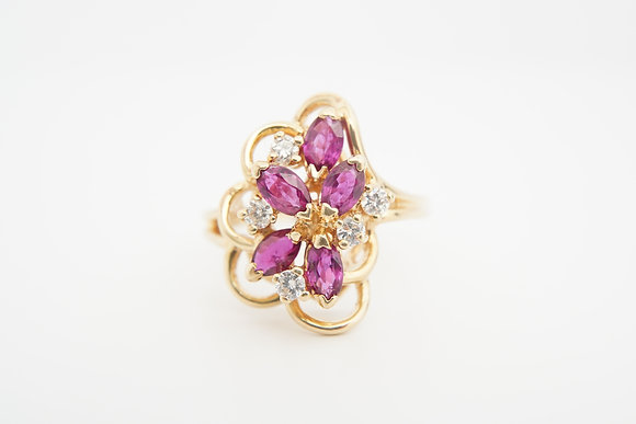 14k Freeform Ruby & Diamond Ring