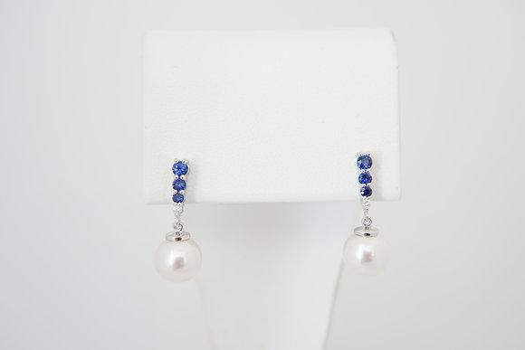 14k Akoya Pearl, Blue Sapphire & Diamond Earrings
