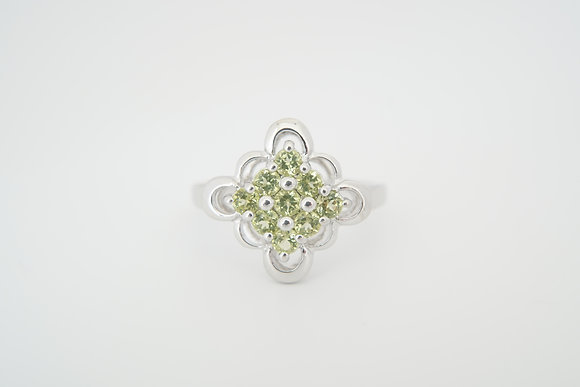 Sterling Silver Peridot Floral Cluster Ring