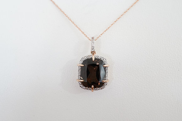 10k Rose Gold, Smokey Quartz, & Created Sapphire Necklace
