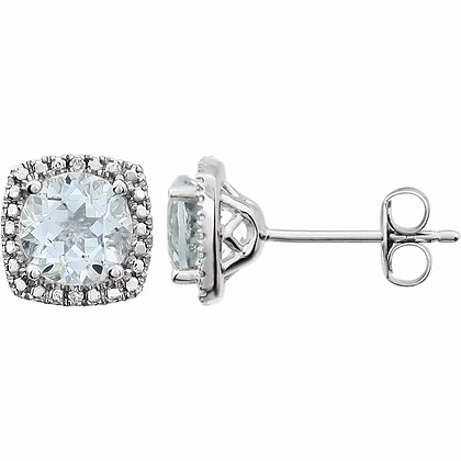 Sterling Silver Aquamarine Halo-Style Earrings
