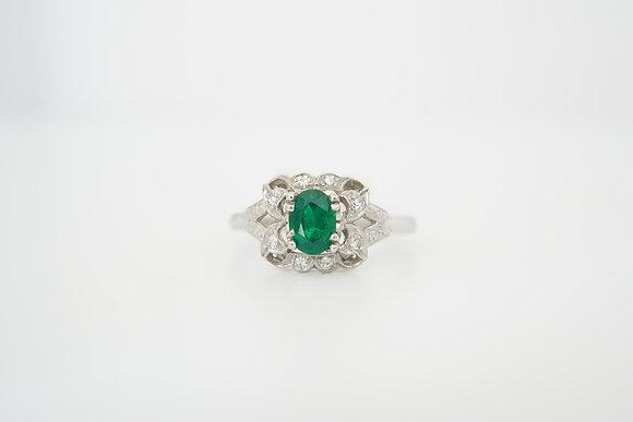 Platinum Vintage-Inspired Emerald & Diamond Ring