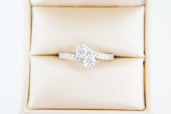14k 1ctw Two-Stone Ring