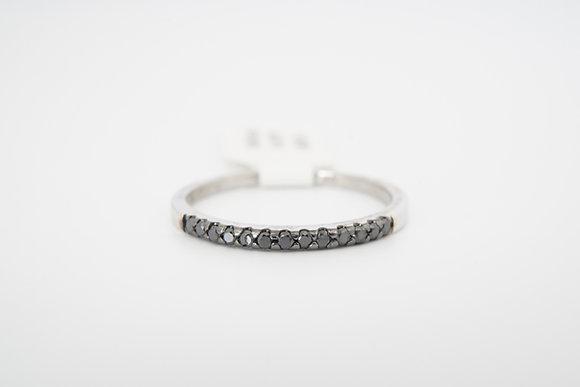 14k .13ctw petite black diamond band