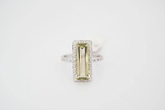 10k Olive Quartz Rectangle Halo Ring