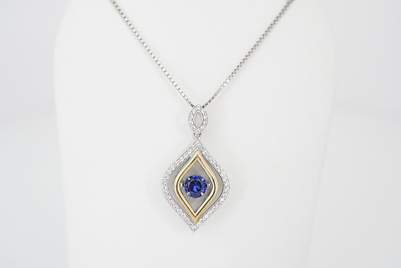 """Sterling Silver """"Dancing"""" Navette Sapphire Necklace"""
