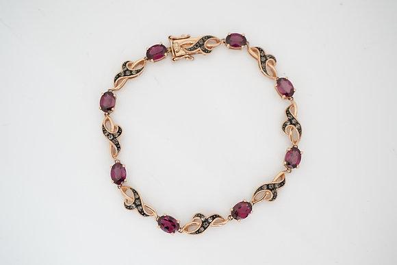10k Rose Gold, Rhodolite & Smokey Quartz Bracelet