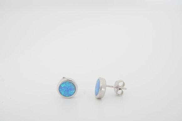 Sterling Silver & Synthetic Blue Opal Bezel Earrings