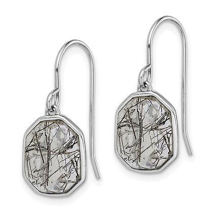 Sterling Silver Tourmalinated Quartz Dangle Earrings