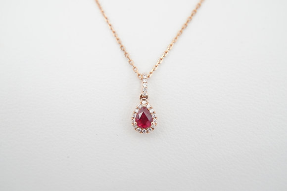 14k Pear-Shape Ruby & Diamond Halo Pendant