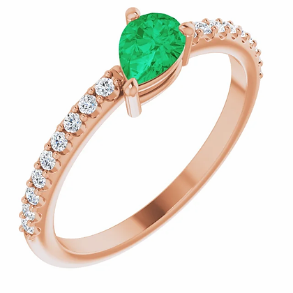14k Diamond & Pear-Shape Emerald Ring
