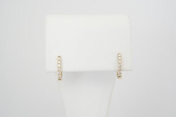 14k .16ctw Petite Diamond Huggie Hoop Earrings