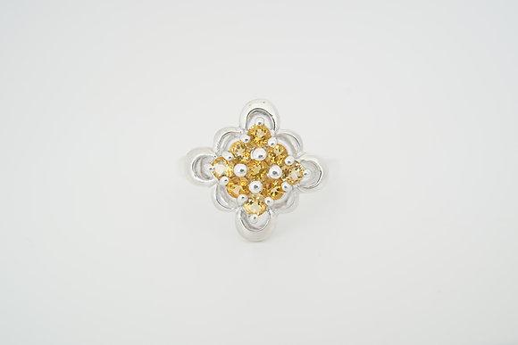 Sterling Silver Citrine Floral Cluster Ring