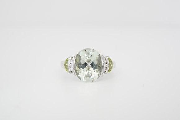 10k Green Quartz, Diamond, and Peridot Ring